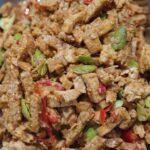 Tempe tahu peteh ( mild pittig tahu, tempe en peteh bonen)
